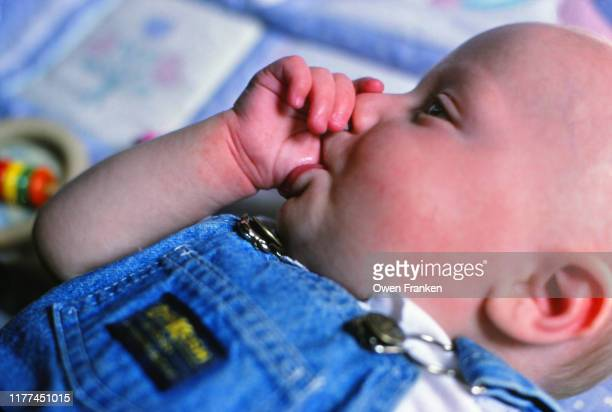 one year old boy sucking his thumb - image photos et images de collection
