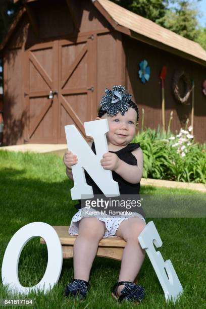 One Year Old Girl sitting on a bench outside with a ONE sign