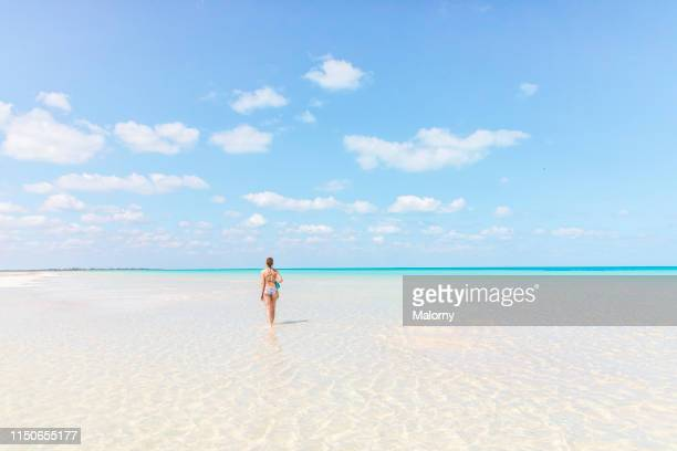 one young woman walking at the beach in crystal clear water on the island of holbox, mexico - holbox island fotografías e imágenes de stock
