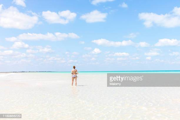 one young woman walking at the beach in crystal clear water - holbox island fotografías e imágenes de stock