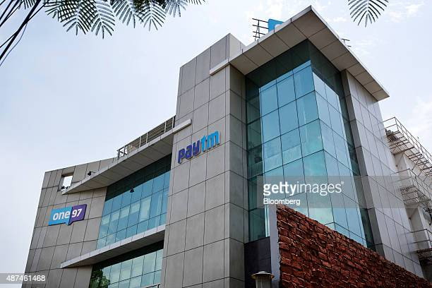 One97 Communications Ltd headquarters stand in Noida Uttar Pradesh India on Thursday May 14 2015 One97 which operates PayTM think they have an edge...