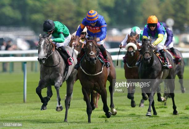 Oneforthegutter and Dougie Costello coming home to win the EBF Stallions Maiden Stakes at Haydock Park Racecourse on July 1, 2021 in...