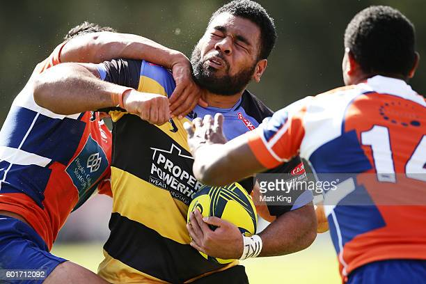 Onehunga Havili of the Spirit is tackled during the round three NRC match between the Western Sydney Rams and the Perth Spirit at Concord Oval on...