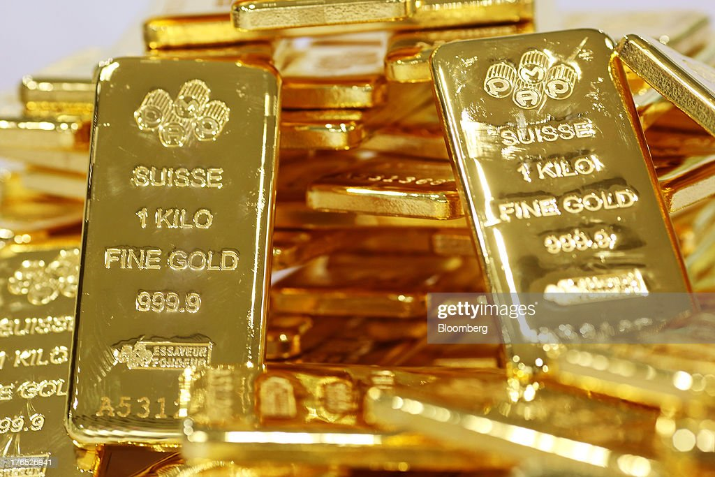 Gold Bars At YLG Bullion International Ltd. As Gold Heads For Three-Week High : News Photo
