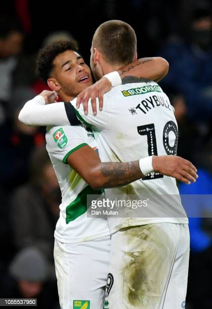 Onel Hernandez of Norwich City celebrates after scoring his team's first goal with Tom Trybull of Norwich City during the Carabao Cup Fourth Round...