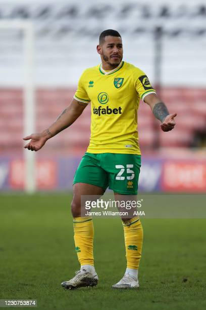 Onel Hernandez of Norwich City during The Emirates FA Cup Fourth Round match between Barnsley and Norwich City at Oakwell Stadium on January 23, 2021...