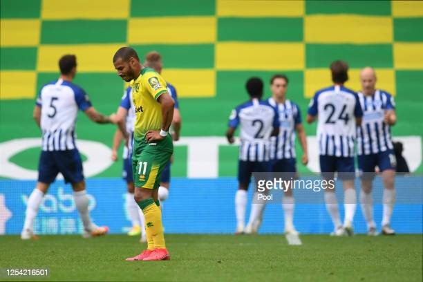 Onel Hernandez of Norwich City reacts to Brighton and Hove Albion scoring there first goal during the Premier League match between Norwich City and...