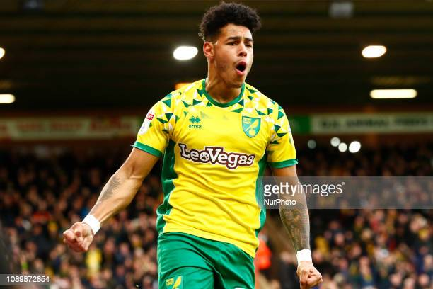 Onel Hernandez of Norwich City scores and celebrates during the Sky Bet Championship match between Norwich City and Sheffield United at Carrow Road...