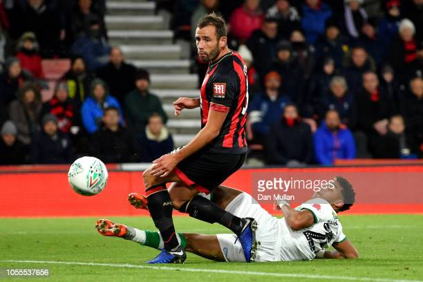 Onel Hernandez of Norwich City scores his team's first goal during the Carabao Cup Fourth Round match between AFC Bournemouth and Norwich City at...