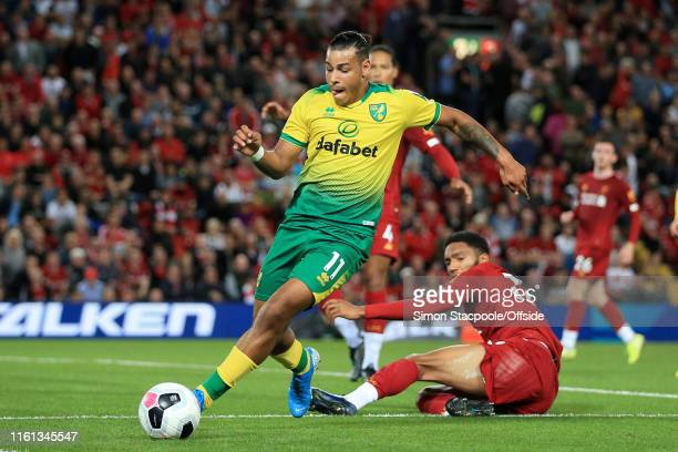 Onel Hernandez of Norwich in action during the Premier League match between Liverpool and Norwich City at Anfield on August 9 2019 in Liverpool...