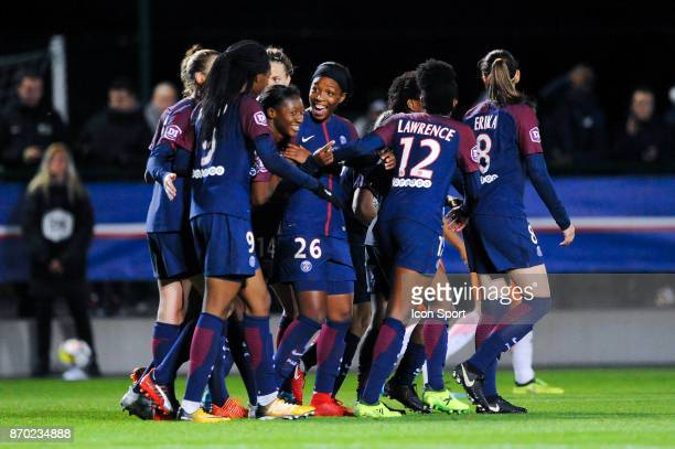 Onema Grace Geyoro celebrates a goal of PSG during the French Women's Division 1 match between Paris Saint Germain and Montpellier on November 4 2017...