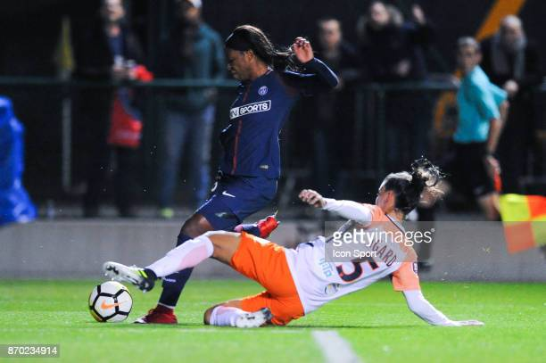 Onema Grace Geyoro of PSG and Laura Agard of Montpellier during the French Women's Division 1 match between Paris Saint Germain and Montpellier on...