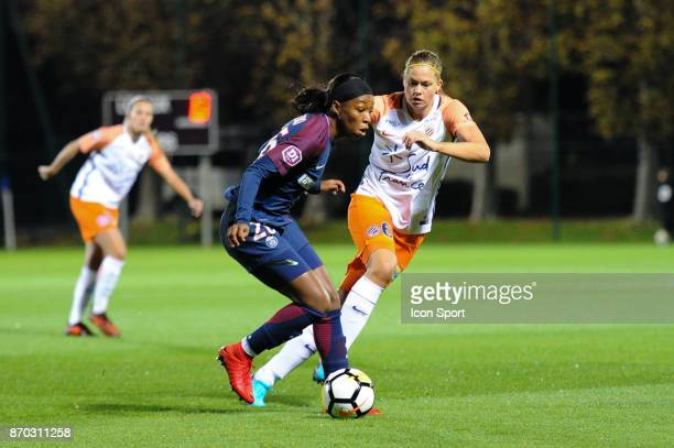 Onema Grace Geyoro of PSG and Manieke Anouk Dekker of Montpellier during the French Women's Division 1 match between Paris Saint Germain and...