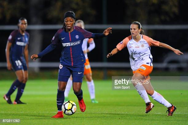 Onema Grace Geyoro of PSG and Sandie Toletti of Montpellier during the French Women's Division 1 match between Paris Saint Germain and Montpellier on...
