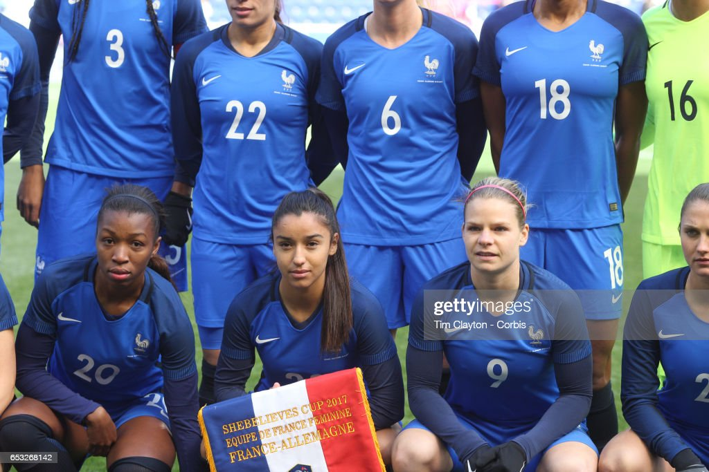 Onema Grace Geyoro #20, Sakina Karchaoui #23 and Eugénie Le Sommer #9 of France during the team photograph before the France Vs Germany SheBelieves Cup International match at Red Bull Arena on March 4, 2017 in Harrison, New Jersey.
