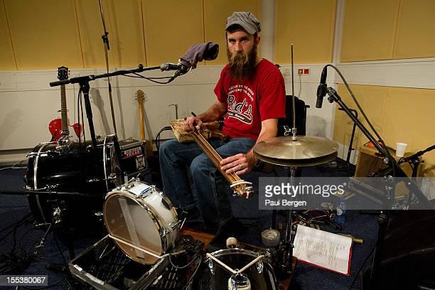 Onemanband and bluegrass singer Ben Prestage in the studio in Rotterdam Netherlands 2nd October 2012