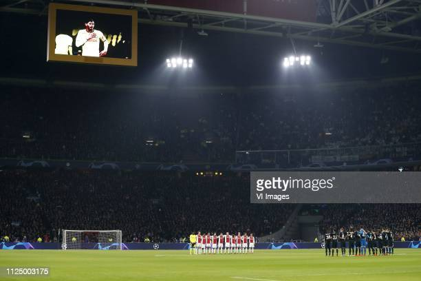 oneminute silence to honor Emiliano Sala during the UEFA Champions League round of 16 match Ajax Amsterdam and Real Madrid at the Johan Cruijff Arena...