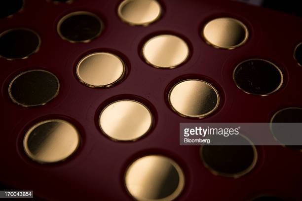 Oneounce 24 K gold coin blanks are displayed at the United States Mint at West Point in West Point New York US on Wednesday June 5 2013 Sales of gold...