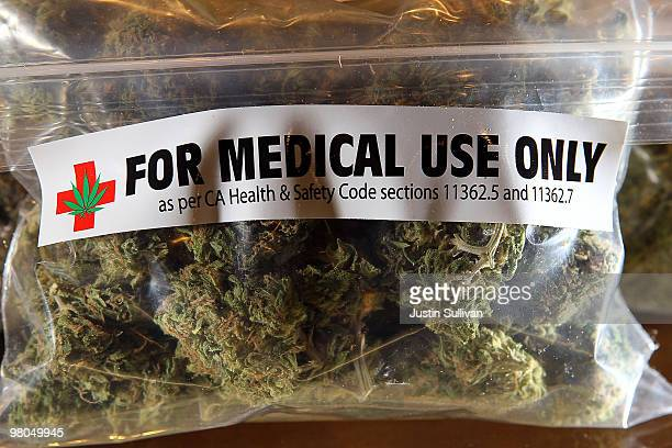 A oneounce bag of medicinal marijuana is displayed at the Berkeley Patients Group March 25 2010 in Berkeley California California Secretary of State...