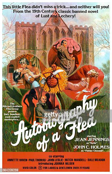 Onesheet movie poster advertises the film 'Autobiography of a Flea' starring John Holmes Jean Jennings and Annette Haven 1976