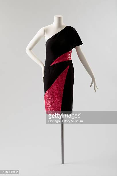 Oneshouldered cocktail dress designed by Karl Lagerfeld for Chloe with red sequined triangular insets 1982 Shown as part of the Chicago History...