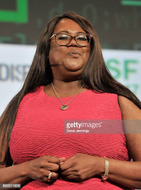 Oneva CoFounder and CEO Anita Darden Gardyne participates in the Startup Battlefield finals during TechCrunch Disrupt SF 2017 at Pier 48 on September...