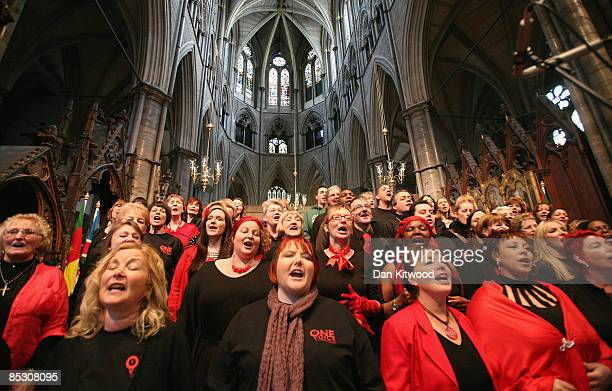 OneVoice community gospel choir rehearse ahead of the Commonwealth Observance at Westminster Abbey on March 9 2009 in London England The event which...