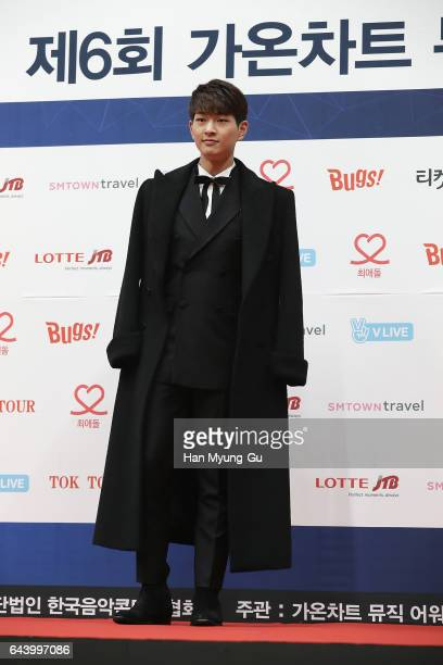 Onew of boy band SHINee attends the 6th Gaon Chart KPop Awards on February 22 2017 in Seoul South Korea