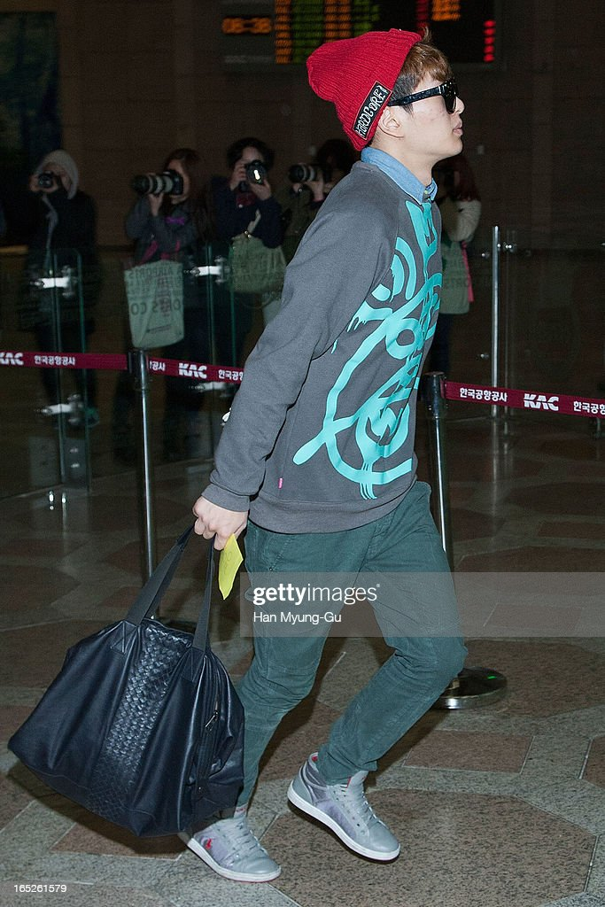 Onew of South Korean boy band SHINee is seen on departure to Japan at Gimpo International Airport on April 2, 2013 in Seoul, South Korea.