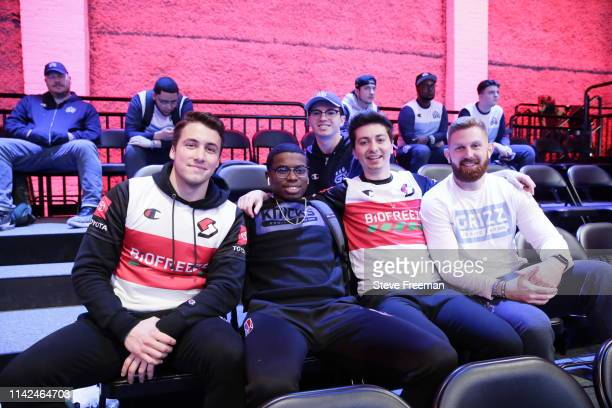 OneWildWalnut and Mama Im Dat Man of Blazer5 Gaming G O O F Y 7 5 7 of Knicks Gaming and ToXsiK of Grizz Gaming are seen during Week 4 of the NBA 2K...