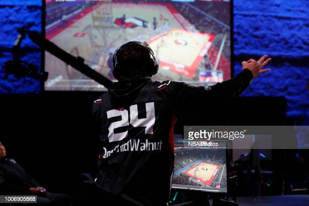 OneWildWalnut of Blazer5 Gaming reacts during game against Kings Guard Gaming on July 28 2018 at the NBA 2K Studio in Long Island City New York NOTE...