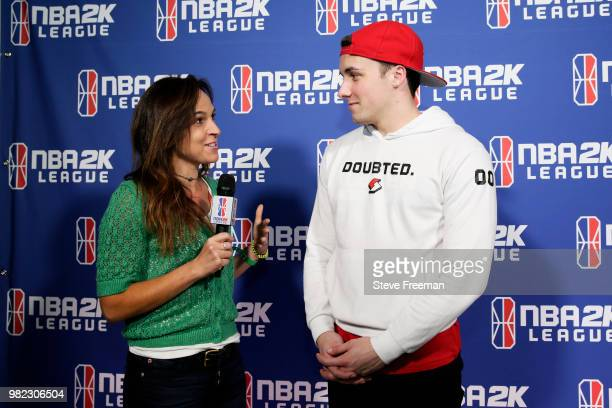 OneWildWalnut of Blazer5 Gaming speaks to the media after the match against Warriors Gaming Squad on June 23 2018 at the NBA 2K League Studio Powered...