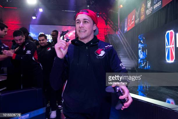 OneWildWalnut of the Blazer5 Gaming is seen after the game against the Pacers Gaming on August 11 2018 at the NBA 2K Studio in Long Island City New...