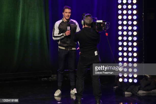 OneWildWalnut of Warriors GC talks with the media during the NBA 2K League Draft on February 22 2020 at Terminal 5 in New York New York NOTE TO USER...