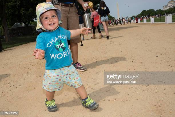 Oneyearold Isaac Langan from Fredericksburg Va attended the Peoples Climate March in Washington DC on April 29 2017 Isaac is marching in the...
