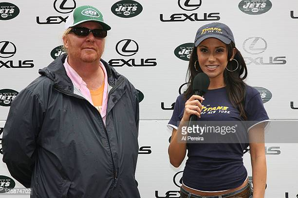 On-field hostess Jenn Sterger of the New York Jets interviews celebrity chef Mario Batali at Giants Stadium on September 28, 2008 in East Rutherford,...