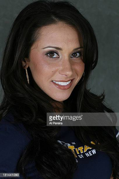 On-field hostess Jenn Sterger of the New York Jets poses during a protrait session at Giants Stadium on September 28, 2008 in East Rutherford, New...