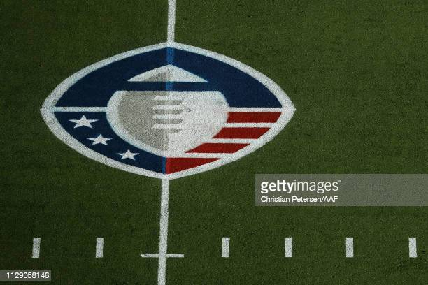 Onfield logo before the Alliance of American Football game between the Arizona Hotshots and the Salt Lake Stallions at Sun Devil Stadium on February...