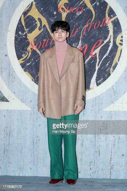 Ong SeongWu of boy band Wanna One attends the Photocall for 'Gucci' Cruise 2020 Campaign Party on October 01 2019 in Seoul South Korea