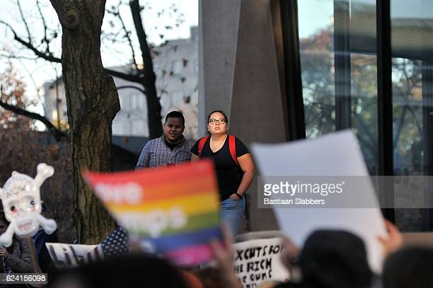 ongoing anti-trump protests in philadelphia, pennsyvlania - basslabbers, bastiaan slabbers stock pictures, royalty-free photos & images