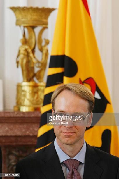 Ongoing Bundesbank President Jens Weidmann looks on at Bellevue Presidential Palace on April 29 2011 in Berlin Germany German President Christian...