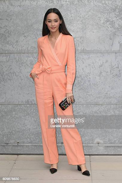 Ongrachatawiboon Numthip arrives at the Giorgio Armani show during Milan Fashion Week Spring/Summer 2017 on September 23 2016 in Milan Italy