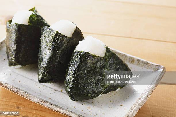 onigiri rice balls - nigiri stock pictures, royalty-free photos & images