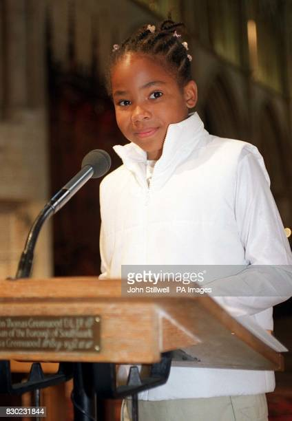Onike Wellington who was just 12 days old when her brother Simon died in the Marchioness Thames riverboat disaster reads a prayer during a memorial...