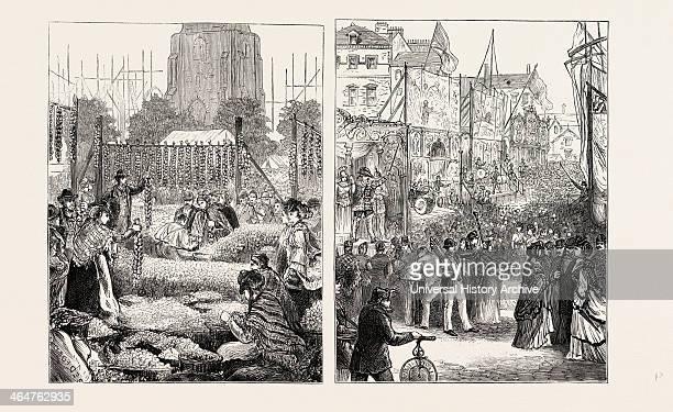 Onion Fair At Birmingham Goose Fair At Nottingham UK 1873 Engraving