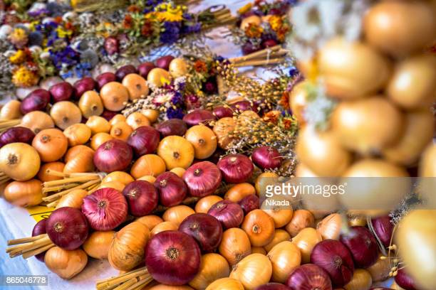 Onion plaits at traditional market in Weimar, Germany