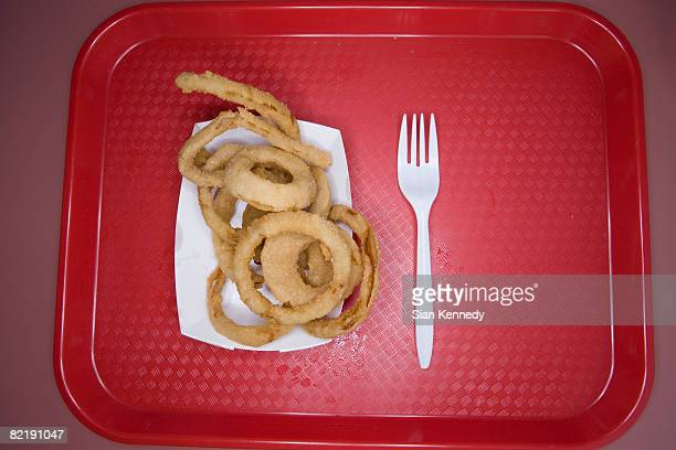 Onion rings on fast food tray