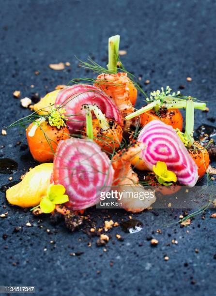 onion, shrimp and herbs on plate - klein foto e immagini stock