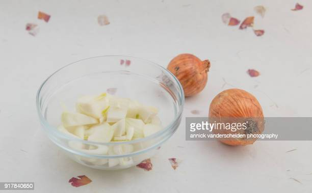 two onions glass bowl chopped onion