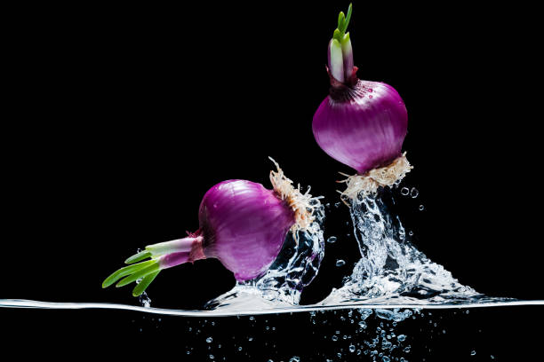 Onions jump out from water.